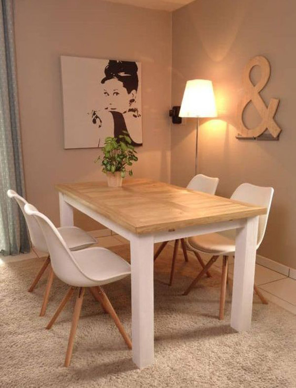 Mặt bàn gỗ pallet màu tự nhiên, chân trắng