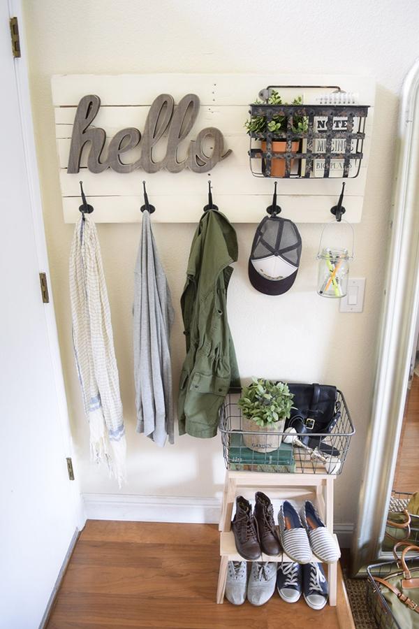 kệ treo đồ kết hợp giỏ đựng và giá giày