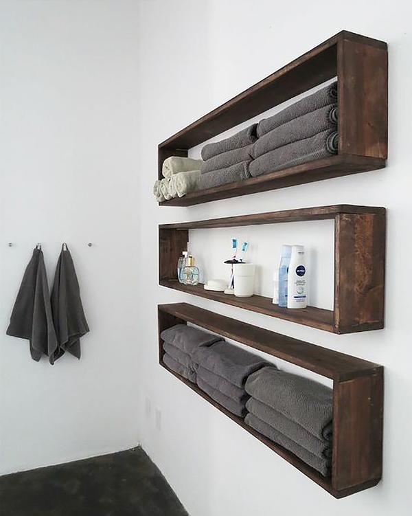 Kệ gỗ nhà tắm dạng lớn - đơn giản mà rất nịnh mắt